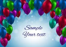 Ilustração lustrosa do vetor do cartão dos balões da cor Fotografia de Stock Royalty Free