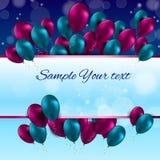 Ilustração lustrosa do vetor do cartão dos balões da cor Imagens de Stock Royalty Free
