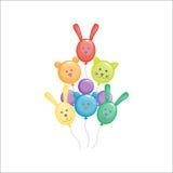 Ilustração lustrosa do vetor dos balões dos animais da cor Fotos de Stock