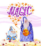 Ilustração mágica tirada mão da aquarela com estrelas, dois feiticeiros isolados no fundo branco ilustração stock