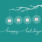 Ilustração a mão livre do ano novo do White Christmas do vetor Flocos de neve que penduram no ramo de árvore cartão 2018 Boas fes Foto de Stock Royalty Free