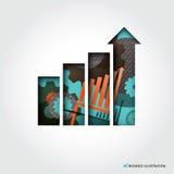 Ilustração mínima do conceito do gráfico de negócio do estilo ilustração do vetor