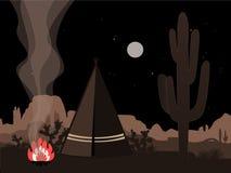 Ilustração místico do amd bonito com tenda, fogo, e a silhueta indianos da árvore de joshua Foto de Stock Royalty Free