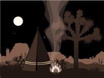 Ilustração místico do amd bonito com tenda, fogo, e a silhueta indianos da árvore de joshua Fotos de Stock