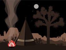 Ilustração místico do amd bonito com tenda, fogo, e a silhueta indianos da árvore de joshua Fotos de Stock Royalty Free