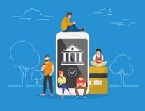 Ilustração móvel do conceito da operação bancária ilustração do vetor
