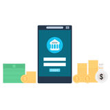 Ilustração móvel do conceito da operação bancária Fotos de Stock