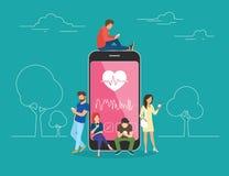 Ilustração móvel do conceito do app dos cuidados médicos ilustração royalty free