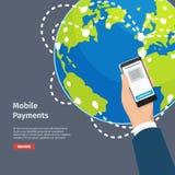 Ilustração móvel esperta das instruções dos pagamentos ilustração royalty free