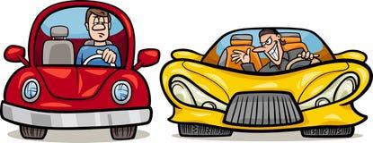 Ilustração maliciosa dos desenhos animados do motorista Fotografia de Stock Royalty Free
