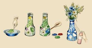 Ilustração manual da decoração fazer--ele mesmo do vaso fotos de stock