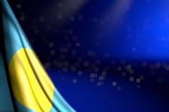 Ilustração maravilhosa da bandeira 3d do feriado nacional - a ilustração da bandeira de Palau pendura no canto no azul com foco m ilustração royalty free