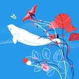 Ilustração marinha do vetor com baleia Imagem de Stock Royalty Free