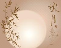 Ilustração meados de da Lua cheia e do bambu do outono Imagem de Stock