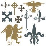 Ilustração medieval do vetor do crachá do castelo da heráldica do símbolo do rei do vintage dos elementos do cavaleiro da crista  ilustração royalty free