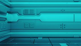 Ilustração metálica do fundo 3d do corredor do grunge da ficção científica ilustração stock