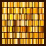 Ilustração metálica e dourada da coleção do inclinação Ajuste inclinações do ouro Coleção dourada dos quadrados Fundo dourado Imagens de Stock Royalty Free