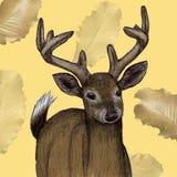 Ilustração mexicana dos cervos tirada na pena com cor digital ilustração royalty free