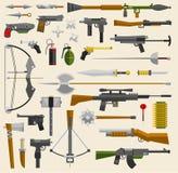 Ilustração militar do vetor da arma do caçador e da guerra Facas, armas, setas ilustração do vetor
