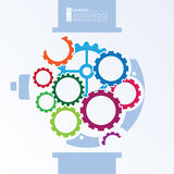 Ilustração minimalista dos relógios com a engrenagem colorida da roda denteada Imagens de Stock Royalty Free