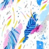 Ilustração moderna com folhas tropicais, grunge, texturas da aquarela, cursos ásperos da escova, elementos mínimos ilustração stock