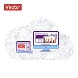 Ilustração moderna com portátil e monitor onde mostrando o escritório Imagem de Stock Royalty Free