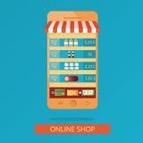 Ilustração moderna da compra em linha Foto de Stock Royalty Free