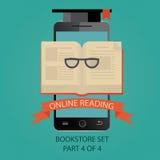 Ilustração moderna da educação em linha Leitura em linha Fotos de Stock Royalty Free