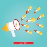 Ilustração moderna da ideia nova, megafone com bulbo Imagem de Stock Royalty Free
