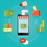 Ilustração moderna da loja em linha, compra em linha, engodo Foto de Stock