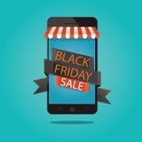 Ilustração moderna da venda preta de sexta-feira, loja em linha do vetor Imagens de Stock Royalty Free