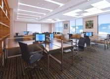 A ilustração moderna do design de interiores 3d do escritório ilustração stock