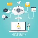 Ilustração moderna do serviço da nuvem Imagens de Stock Royalty Free