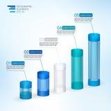 Ilustração moderna do vetor 3D infographic para estatísticas, analítica, relatórios financeiros, apresentação e design web Imagem de Stock