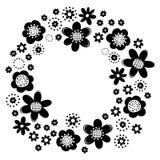 Ilustração monocromática botânica da grinalda da flor Fotos de Stock Royalty Free