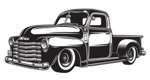 Ilustração monocromática do caminhão retro do estilo Imagem de Stock