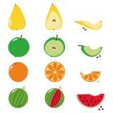 Ilustração mordida da sequência dos frutos sobre o branco ilustração royalty free