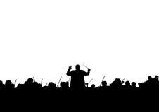 Ilustração musical Silhueta de uma orquestra sinfônica imagens de stock