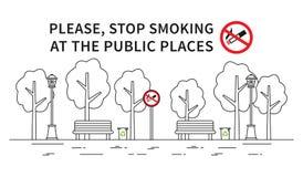 Ilustração não fumadores do vetor do parque da cidade Imagens de Stock Royalty Free