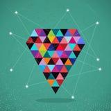 Ilustração na moda do diamante do triângulo dos modernos retros. ilustração do vetor