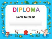 Ilustração nadadora do molde do certificado da concessão Fotos de Stock