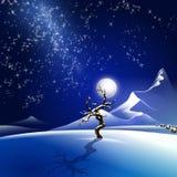 Ilustração nevado da noite do inverno Foto de Stock
