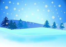 Ilustração nevado da paisagem. Foto de Stock Royalty Free