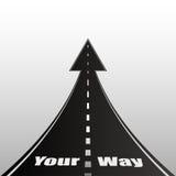 Ilustração no fundo cinzento com texto da estrada Sua maneira Imagens de Stock