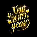 Ilustração nova feliz do vetor de um feriado de 2019 anos do sinal dourado Composição brilhante da rotulação do ouro com Sparkles ilustração stock