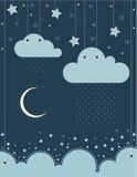 A ilustração Nuvens, mar, lua, estrelas, céu, chuva ilustração do vetor