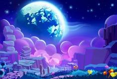 Ilustração: O ambiente do outro planeta Estilo realístico dos desenhos animados ilustração do vetor