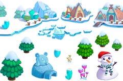 Ilustração: O projeto dos elementos do tema do mundo do gelo da neve do inverno ajustou 1 Ativos do jogo A casa, a árvore, gelo,  ilustração royalty free