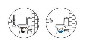 Ilustração obstruída do vetor da bacia de toalete Fotografia de Stock