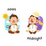 Ilustração oposta do meio-dia e da meia-noite ilustração stock